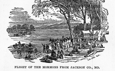 Mormons fleeing Missouri, 1833